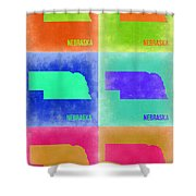 Nebraska Pop Art Map 2 Shower Curtain by Naxart Studio
