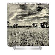 Nebraska Prairie One In Black And White Shower Curtain