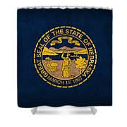 Nebraska State Flag Art On Worn Canvas Shower Curtain