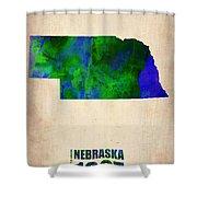 Nebraska Watercolor Map Shower Curtain