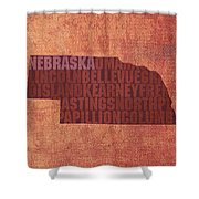 Nebraska Word Art State Map On Canvas Shower Curtain