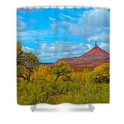 Needle-topped Butte From Highway 211 Going Into Needles District Of Canyonlands National Park-utah  Shower Curtain