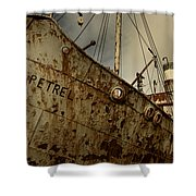 Neglected Whaling Boat Shower Curtain by Amanda Stadther