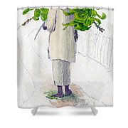 Negro Man Carrying Plantains On Pole Shower Curtain