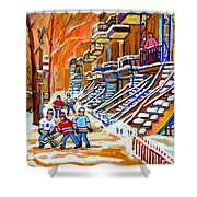Neighborhood Street Hockey Game Last Call Time For Dinner  Montreal Winter Scene Art Carole Spandau Shower Curtain