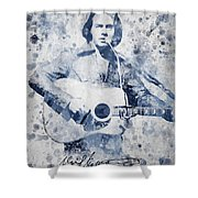 Neil Diamond Portrait Shower Curtain by Aged Pixel