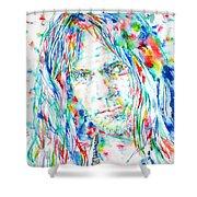 Neil Young - Watercolor Portrait Shower Curtain