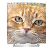 Yellow Cat Digital Art Shower Curtain
