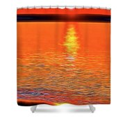 Neon Beach Sunset Shower Curtain