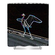 Neon Blue Heron Shower Curtain