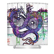 Neon Dragon In High Contrast Shower Curtain