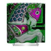 Neon Green Carousel Horse Shower Curtain