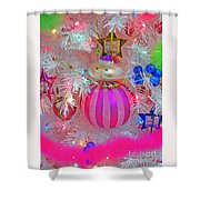 Neon Holiday Tree Shower Curtain