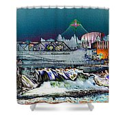 Neon Lights Of Spokane Falls Shower Curtain by Carol Groenen