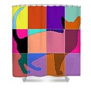 Neon Panels Cat Shower Curtain