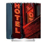 Neon Sign For Hotel In Texas Shower Curtain