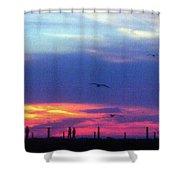 Neon Sunset Shower Curtain