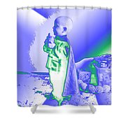 Neon Water Dragon Ninja Boy Shower Curtain