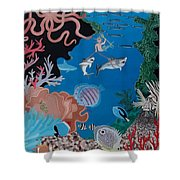 Neptune Spot And Fifi Shower Curtain by Anthony Morris