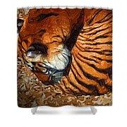 Nestled Tiger Shower Curtain
