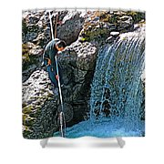 Net Fishing In Bulkley River In Moricetown-british Columbia-canada Shower Curtain