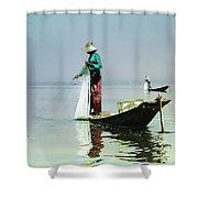 Net Fishing On Inle Lake Shower Curtain