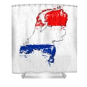 Netherlands Painted Flag Map Shower Curtain