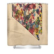 Nevada Map Vintage Watercolor Shower Curtain