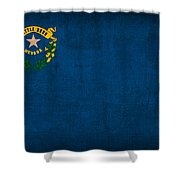 Nevada State Flag Art On Worn Canvas Shower Curtain