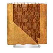 Nevada Word Art State Map On Canvas Shower Curtain