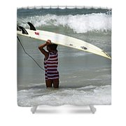 Never Too Little Never Too Big To Surf Shower Curtain