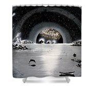 New Age Moonset Shower Curtain