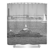 New Bedford Massachusetts Black White Shower Curtain