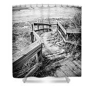 New Buffalo Michigan Boardwalk And Beach Shower Curtain by Paul Velgos