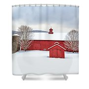 New England Barns Square Shower Curtain