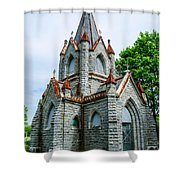 New England Cemetery Mausoleum Shower Curtain