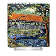 New England Covered Bridge By Prankearts Shower Curtain by Richard T Pranke