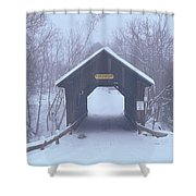 New England Covered Bridge In Winter Shower Curtain