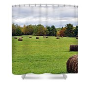 New England Hay Bales Shower Curtain