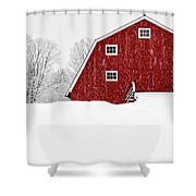 New England Red Barn In Winter Snow Storm Shower Curtain