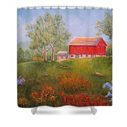 New England Red Barn Summer Shower Curtain