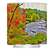 New England Stream In Fall Shower Curtain