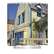 New England Style Building At Fisherman's Village Marina Del Rey Los Angeles Shower Curtain