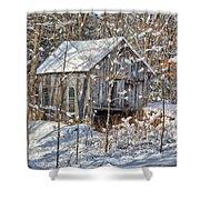 New England Winter Woods Shower Curtain