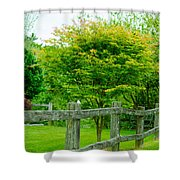 New England Wooden Fence Shower Curtain