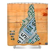 New Hampshire License Plate Map Live Free Or Die Old Man Of The Mountain Shower Curtain by Design Turnpike