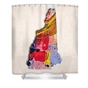 New Hampshire Map Art - Painted Map Of New Hampshire Shower Curtain