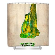 New Hampshire Watercolor Map Shower Curtain by Naxart Studio