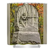 New Jersey At Gettysburg - 13th Nj Volunteer Infantry Near Culps Hill Autumn Shower Curtain by Michael Mazaika