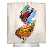 New Jersey Map Art - Painted Map Of New Jersey Shower Curtain